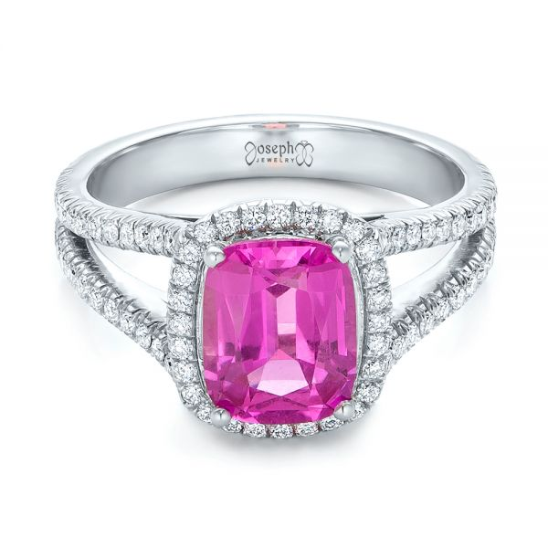Custom Pink Sapphire and Diamond Halo Engagement Ring - Flat View -  1103 - Thumbnail