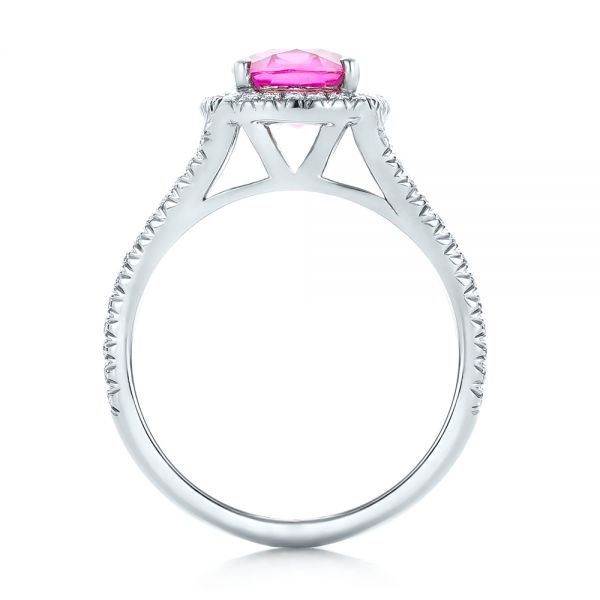 Custom Pink Sapphire and Diamond Halo Engagement Ring - Front View -  1103 - Thumbnail