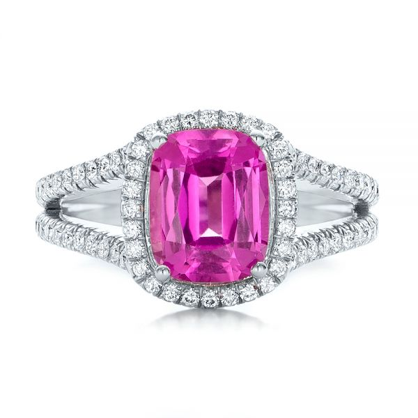 Custom Pink Sapphire and Diamond Halo Engagement Ring - Top View -  1103 - Thumbnail