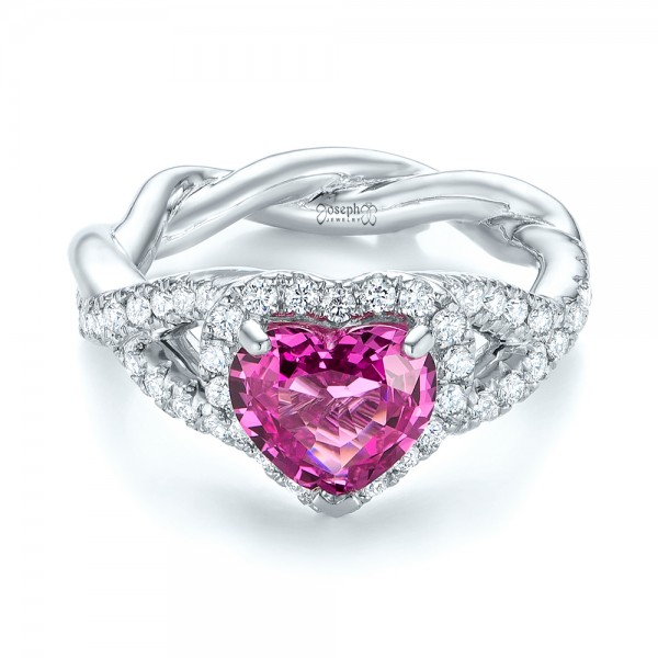 Platinum Custom Pink Sapphire And Diamond Halo Engagement Ring - Flat View -