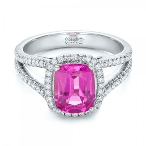 Custom Pink Sapphire and Diamond Halo Engagement Ring