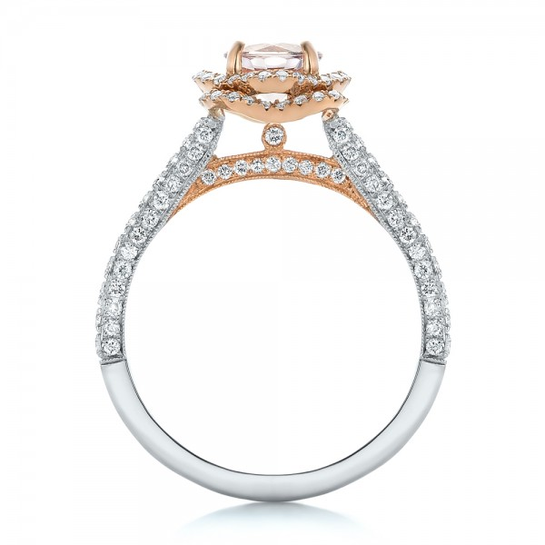 Custom Pink Sapphire and Diamond Halo Engagement Ring - Finger Through View