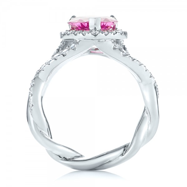 Platinum Custom Pink Sapphire And Diamond Halo Engagement Ring - Front View -