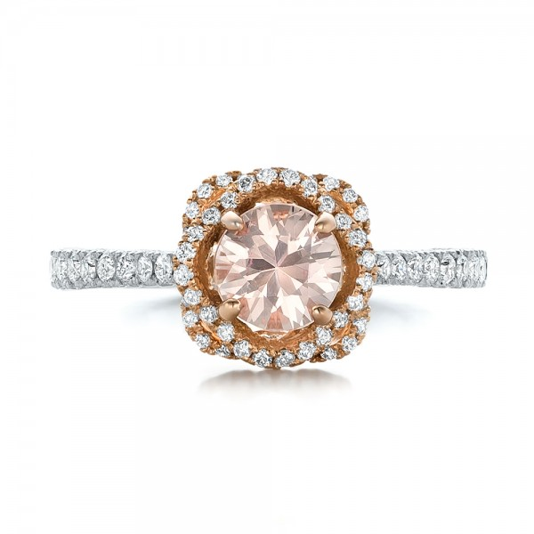 Custom Pink Sapphire and Diamond Halo Engagement Ring - Top View