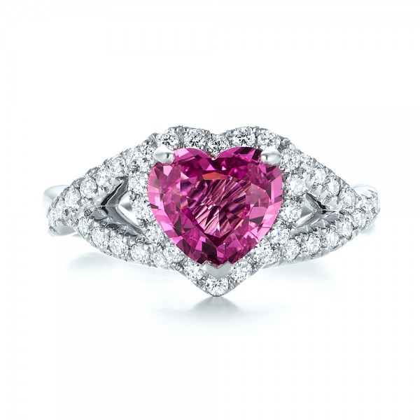 Platinum Custom Pink Sapphire And Diamond Halo Engagement Ring - Top View -