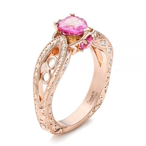 Custom Pink Sapphire and Diamond Ring - Three-Quarter View -  102007 - Thumbnail