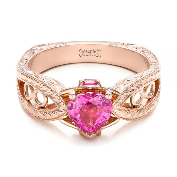 Custom Pink Sapphire and Diamond Ring - Flat View -  102007 - Thumbnail
