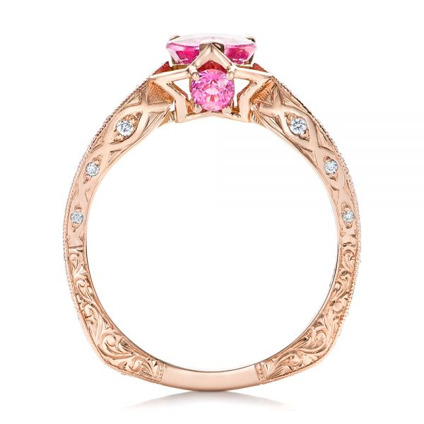 Custom Pink Sapphire and Diamond Ring - Front View -  102007 - Thumbnail
