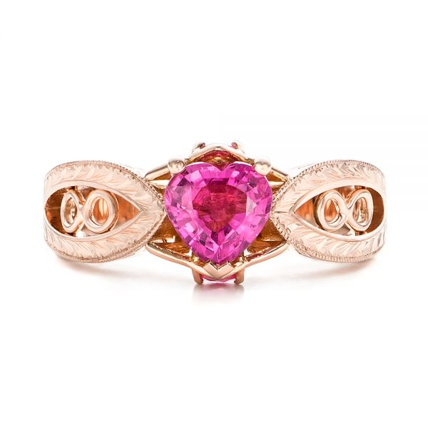 Custom Pink Sapphire and Diamond Ring - Top View -  102007 - Thumbnail
