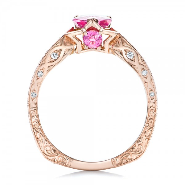 Custom Pink Sapphire and Diamond Ring - Finger Through View
