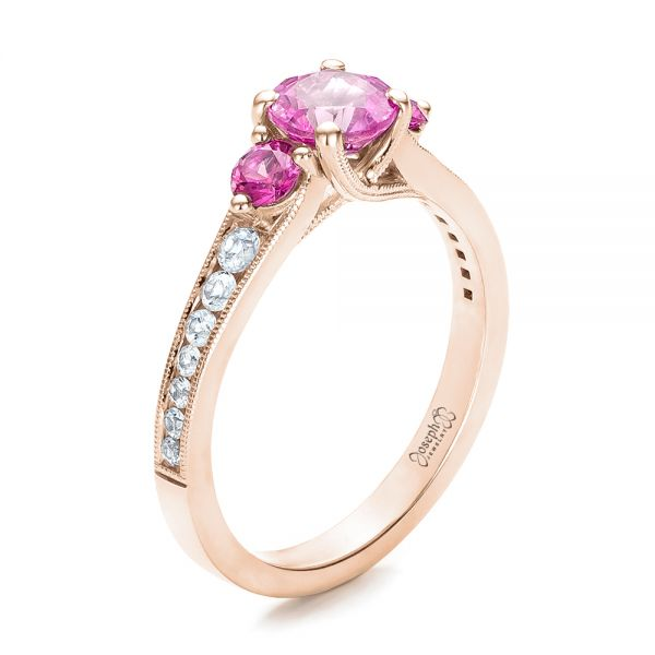 Custom Pink and White Sapphire Engagement Ring - Image