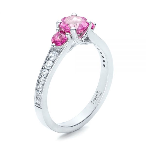 Custom Pink and White Sapphire Engagement Ring