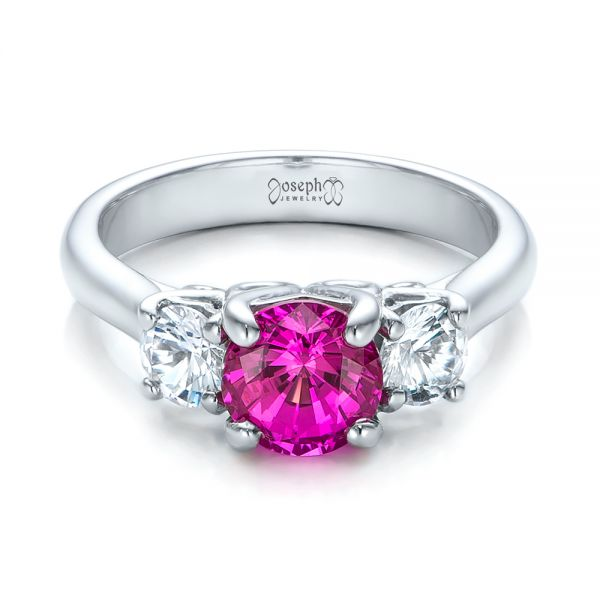 Custom Pink and White Sapphire Engagement Ring - Flat View -  100863 - Thumbnail