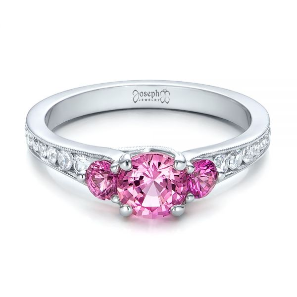Custom Pink and White Sapphire Engagement Ring - Flat View -  100883 - Thumbnail