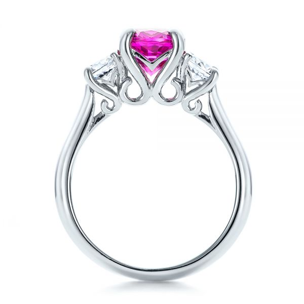 Custom Pink and White Sapphire Engagement Ring - Front View -  100863 - Thumbnail