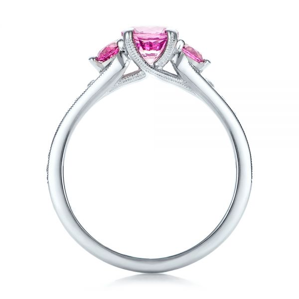 Custom Pink and White Sapphire Engagement Ring - Front View -  100883 - Thumbnail