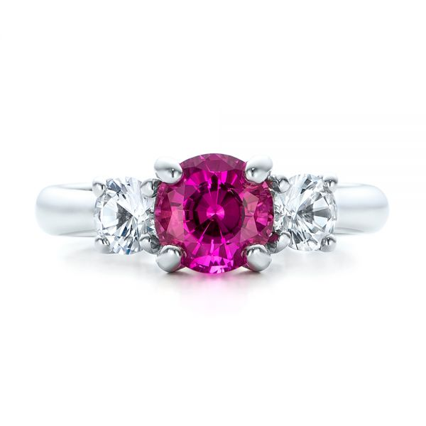 Custom Pink and White Sapphire Engagement Ring - Top View -  100863 - Thumbnail
