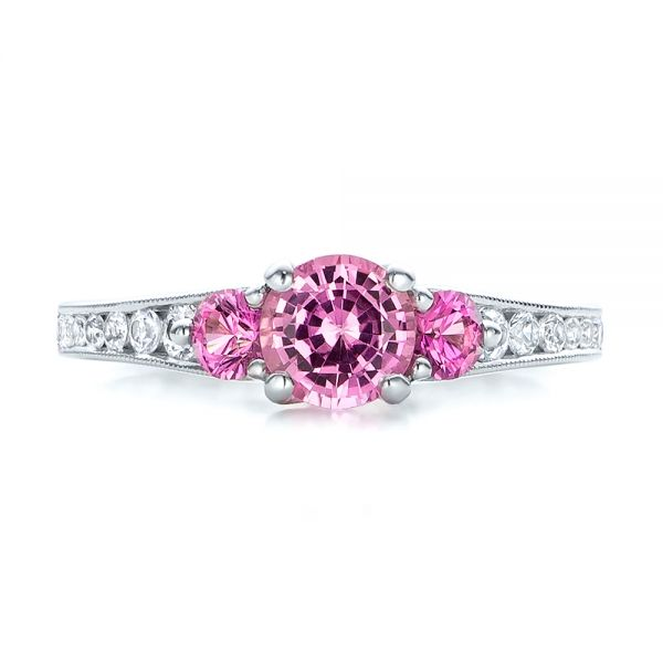 Custom Pink and White Sapphire Engagement Ring - Top View -  100883 - Thumbnail