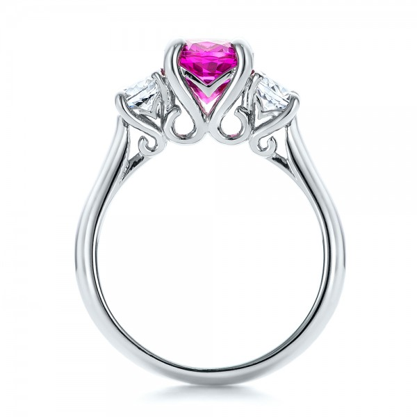 Custom Pink and White Sapphire Engagement Ring - Finger Through View