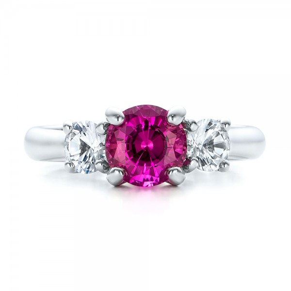 Custom Pink and White Sapphire Engagement Ring - Top View