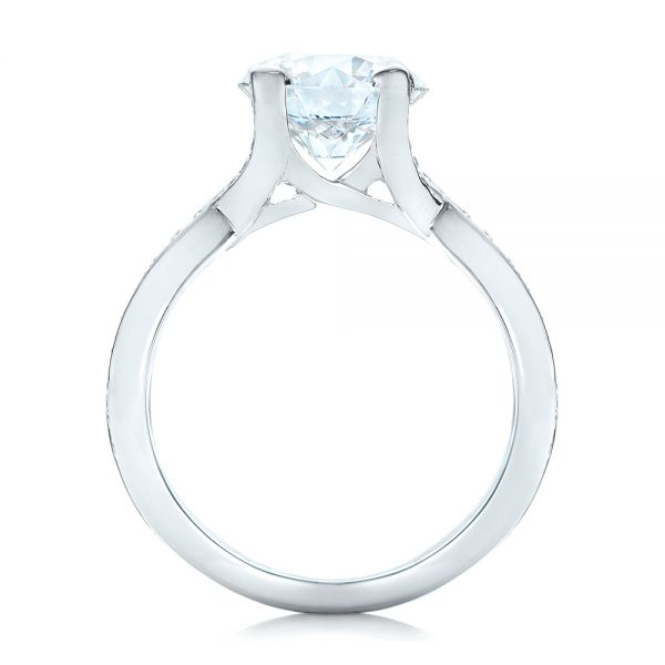 Custom Platinum and Diamond Engagement Ring - Front View -  102065 - Thumbnail