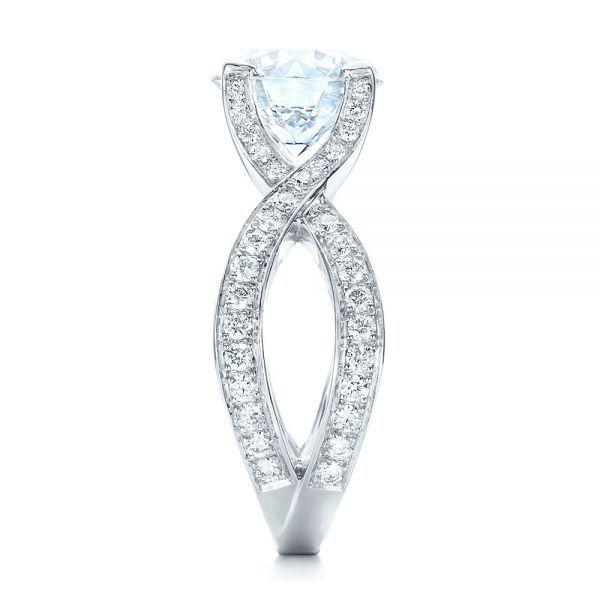 Custom Platinum and Diamond Engagement Ring - Side View -  102065 - Thumbnail
