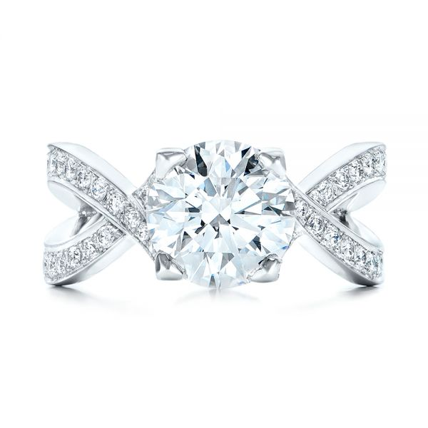 Custom Platinum and Diamond Engagement Ring - Top View -  102065 - Thumbnail