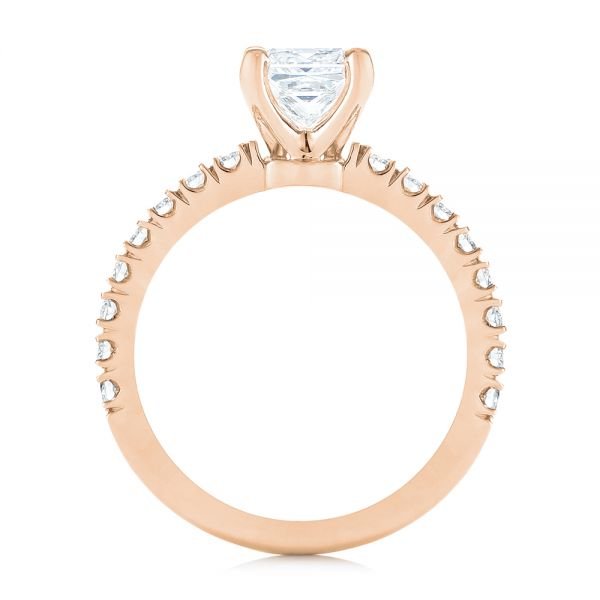 18k Rose Gold 18k Rose Gold Custom Princess Cut Diamond Classic Engagement Ring - Front View -  104251 - Thumbnail