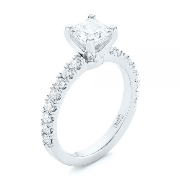 Custom Princess Cut Diamond Classic Engagement Ring - Image
