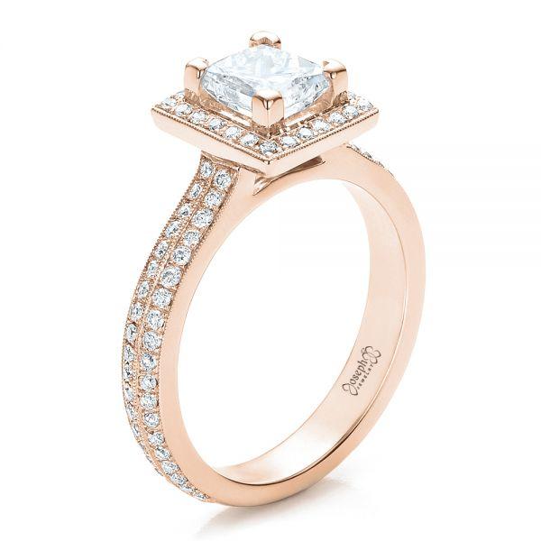 18k Rose Gold Custom Princess Cut Diamond Engagement Ring 100250 Seattle Bellevue Joseph Jewelry