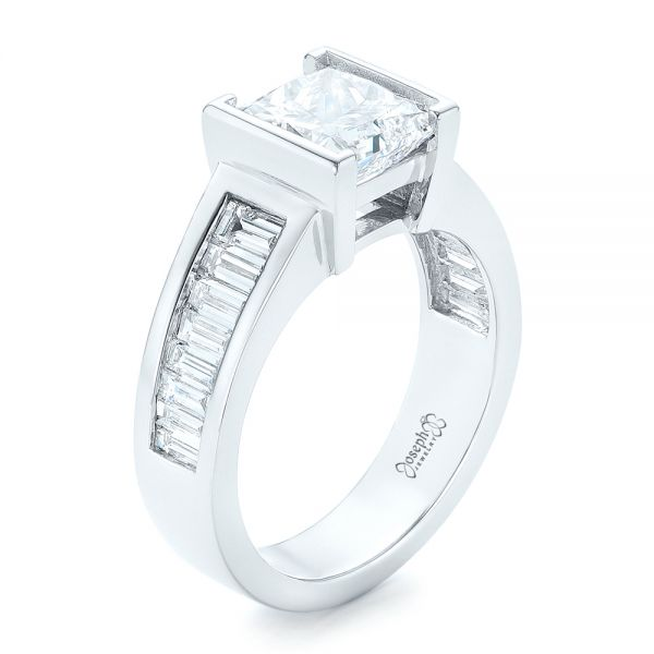 Custom Princess Cut Diamond Engagement Ring - Image
