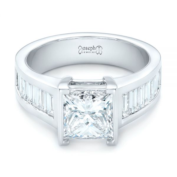 Custom Princess Cut Diamond Engagement Ring - Flat View -  102536 - Thumbnail