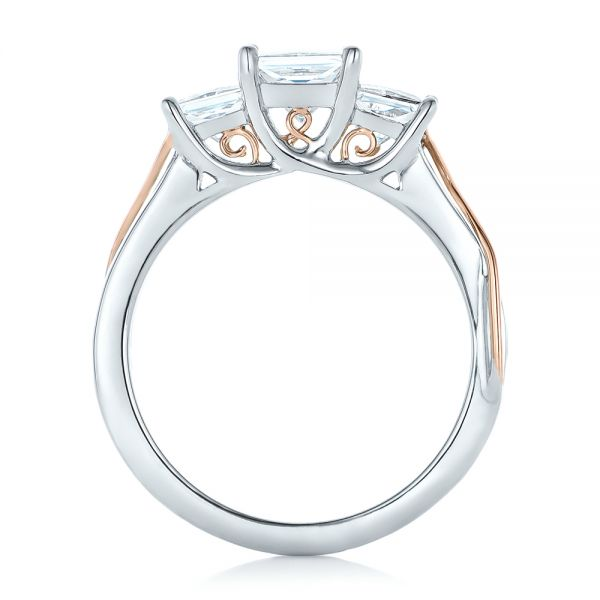 14k White Gold And 14K Gold Custom Princess Cut Diamond Engagement Ring - Front View -