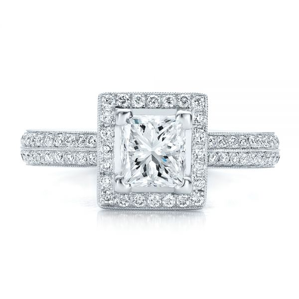 Custom Princess Cut Diamond Engagement Ring - Top View -  100250 - Thumbnail
