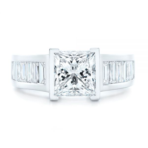Custom Princess Cut Diamond Engagement Ring - Top View -  102536 - Thumbnail