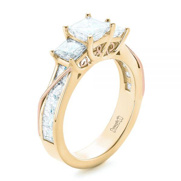 53bbbbd8a7ff1 14k Yellow Gold And 14K Gold Custom Princess Cut Diamond Engagement ...