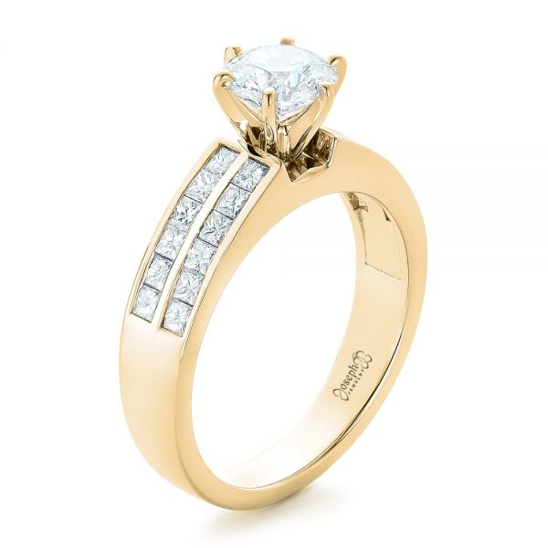 18k Yellow Gold 18k Yellow Gold Custom Princess Cut Diamond Engagement Ring - Three-Quarter View -