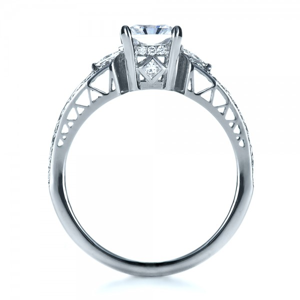 Custom Princess Cut Diamond Engagement Ring - Finger Through View