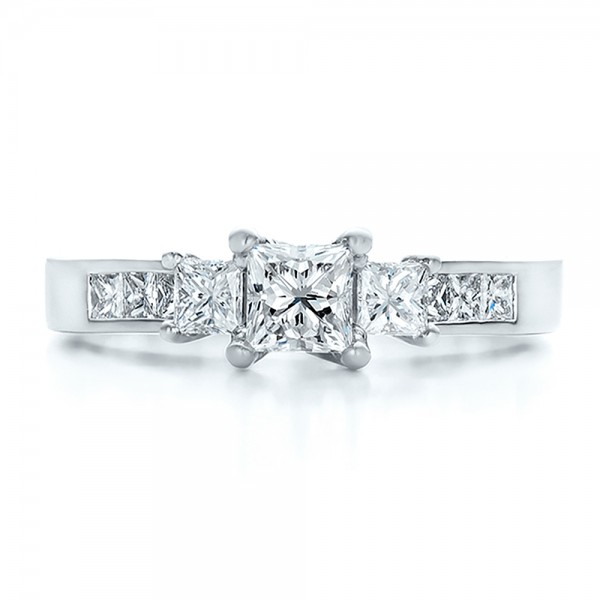 Custom Princess Cut Diamond Engagement Ring - Top View