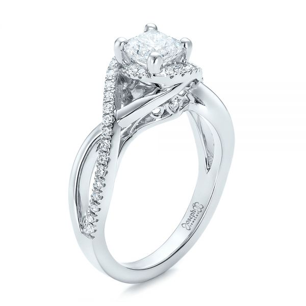Custom Princess Cut Diamond Halo Engagement Ring - Image