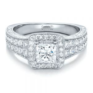 Custom Princess Cut Diamond Halo Engagement Ring
