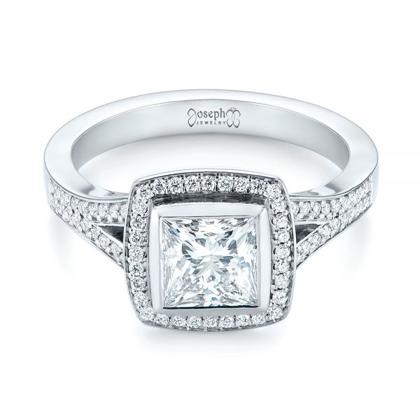 Custom Princess Cut Diamond Halo Engagement Ring - Flat View -  104782 - Thumbnail
