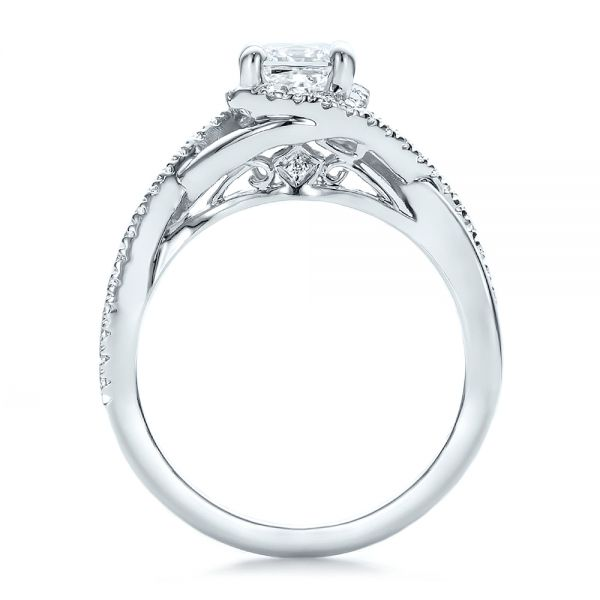 14k White Gold Custom Princess Cut Diamond Halo Engagement Ring - Front View -