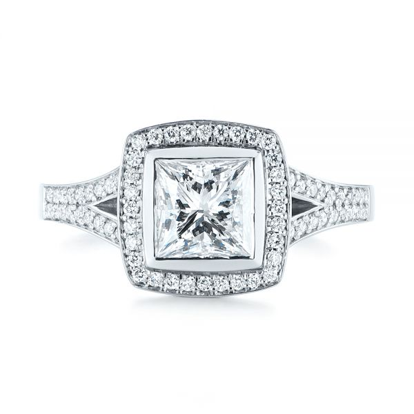 Custom Princess Cut Diamond Halo Engagement Ring - Top View -  104782 - Thumbnail