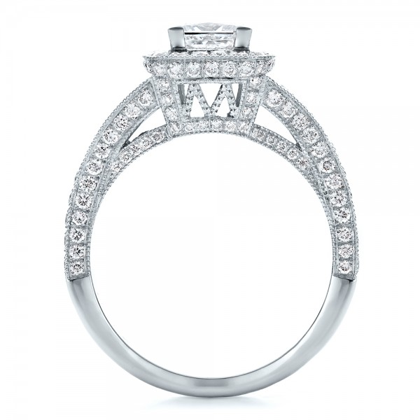 Custom Princess Cut Diamond Halo Engagement Ring - Finger Through View