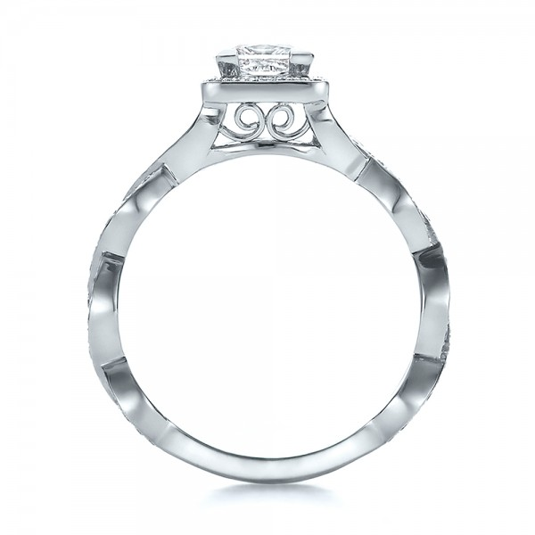 Custom Princess Cut Diamond Halo Engagement Ring - Finger Through View