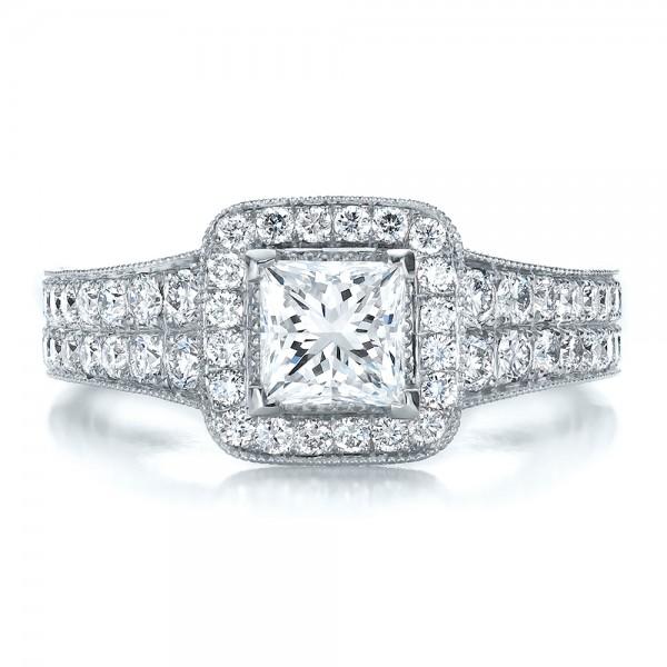 Custom Princess Cut Diamond Halo Engagement Ring - Top View