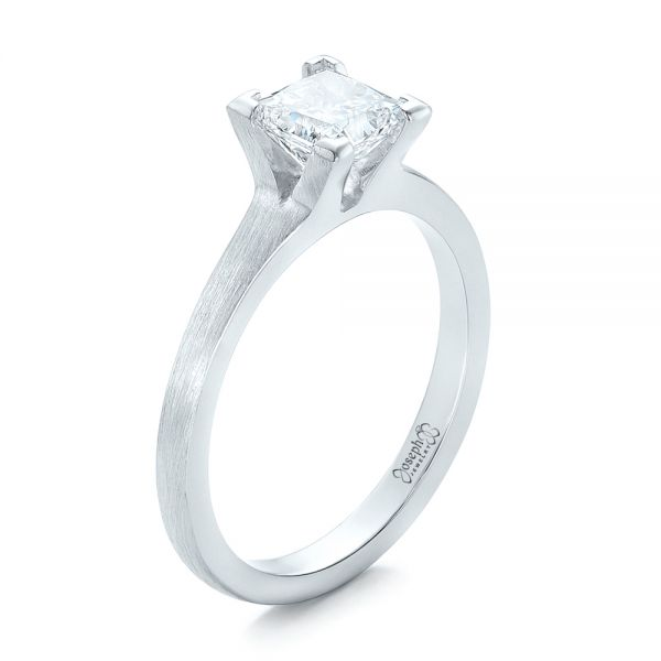 Custom Princess Cut Diamond Solitaire Engagement Ring - Image