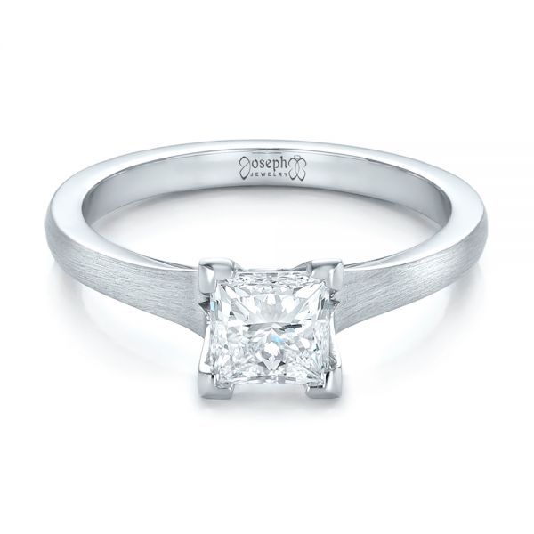 Custom Princess Cut Diamond Solitaire Engagement Ring - Flat View -  102150 - Thumbnail