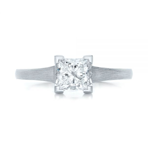 Custom Princess Cut Diamond Solitaire Engagement Ring - Top View -  102150 - Thumbnail